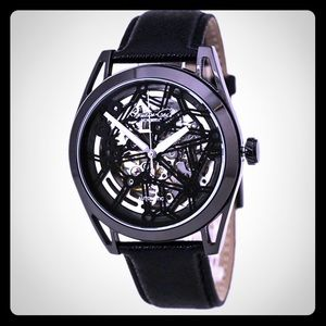 unisex Kenneth Cole skeleton leather strap watch
